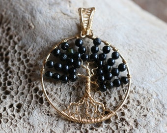 Wire tree of life with Black Tourmaline bead leaves