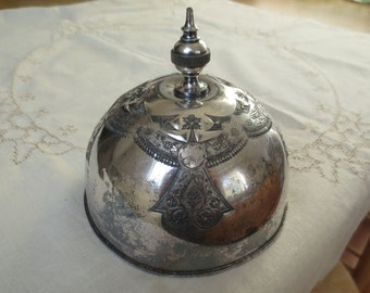 Vintage Tarnished Silver Butter Dome Cheese Keeper Etched Design