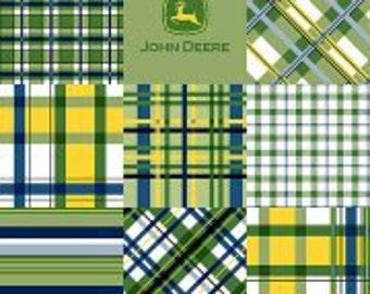 John Deere Fabric, Blue/Green/Yellow, Plaid Patch, Baby/Nursery/Apparel Fabric, Cotton Quilt/Craft/Diy, Half Yard