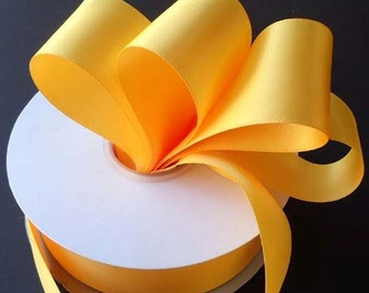 5/8 inch x 100 yards of Light Gold (yellow gold) Double Face Satin Ribbon