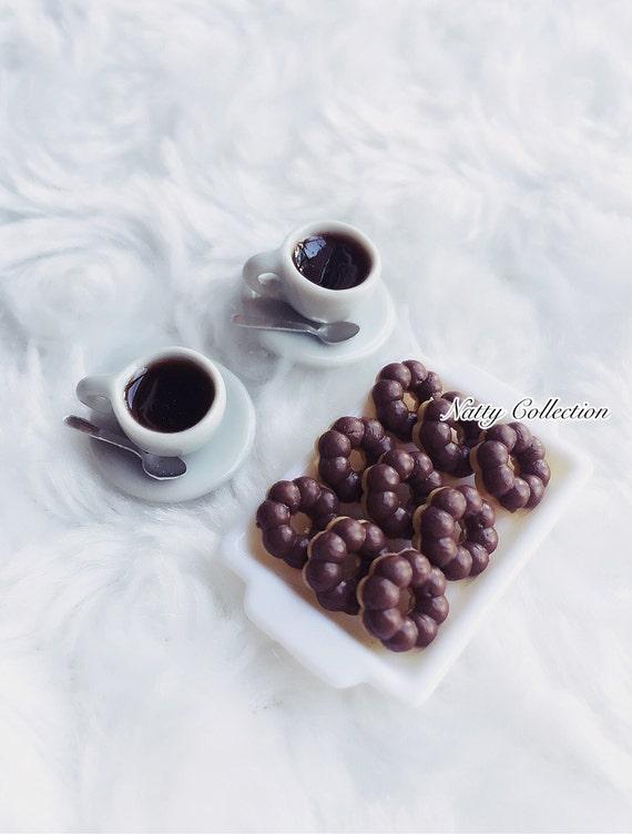 Miniature Doughnuts with Tea Set,Miniature Sweet,Miniature Coffee Set,Miniature Food,Miniature Tea Set,Dolls and Miniature,Miniature Bakery