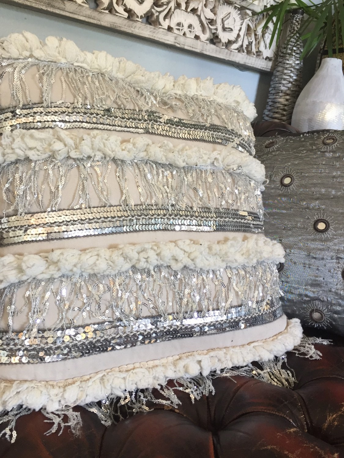marrakech morrocan wedding blanket pillow handira white silver sequin throw pillow cushion cover indian embroidered beaded