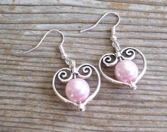 Filigree Silver Heart Earrings, Bridal Earrings, Pink Pearl Bead Hearts, Bridal Jewelry, Silver Pink Heart Earrings, Heart Jewelry