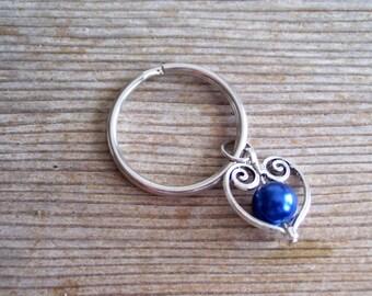 Silver Heart Keychain, Dark Blue Pearl Silver Heart, Blue and Silver Heart, Sweetheart Keychain, Filigree Heart Charm, Pearl Heart Key Ring