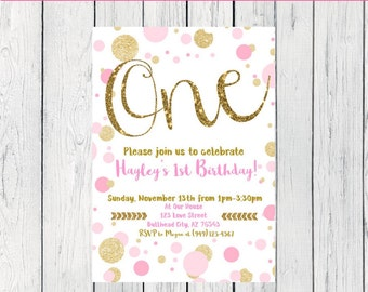 Pink & Gold Polka Dot birthday invitation- Any Age Birthday  ***Digital File*** (One-Polkagold)