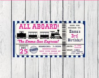 Train Boarding Pass / ticket - Personalized birthday invitation- ***Digital File*** (Train-TixPnk)
