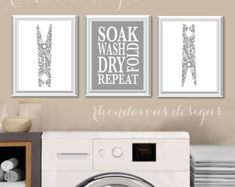 Laundry Room Art Print - Laundry Room Sign - Laundry Room Decorations - Laundry Room Decor - Laundry Room Prints - Wash Dry Fold - NS-777
