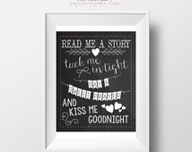 70% CLEARANCE THRU 7/30 Read Me A Story, Tuck Me In Tight, Say A Sweet Prayer, And Kiss Me Goodnight, Printable, Nursery Rhyme Art, Bedtime