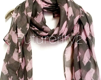 Pink Pig Grey Summer Scarf / Spring Scarf / Autumn Scarf / Women Scarves / Gifts For Her / Accessories / Handmade