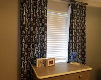 Dark Gray lined floor length curtains with white arrows, Nursery curtains, Floor length drapes