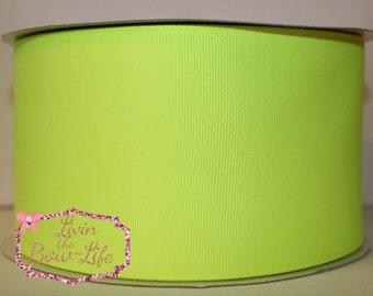 Neon Yellow 3 Inch Grosgrain Cheer Ribbon- 5 Yards