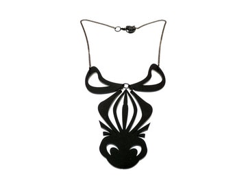 Black perspex  ZEBRA  laser cut statement necklace