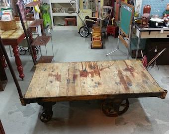 Vintage Nutting Steel Wheel & Hardwood Industrial Cart / Baggage Cart