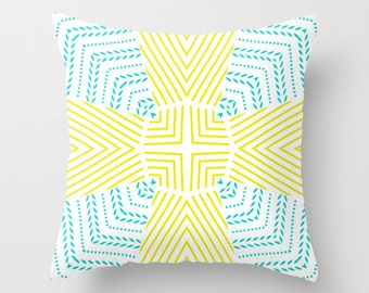 Pillow with Insert | 16 x 16 | Cheeky Chic | Yellow | Turquoise | Zippered Polyester Pillow | Home Office Decor