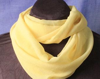 Sunshine Yellow Chiffon Infinity Scarf