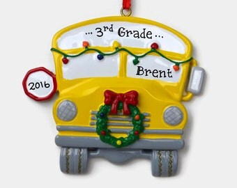 School Bus Personalized Ornament - First Day of School - Hand Personalized Christmas Ornament