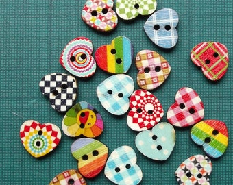10/20/50 Multicoloured Mini Heart Shaped 2 Hole Wooden Buttons 1.4x 1.2cm for Sewing Scrapbooking Card Making