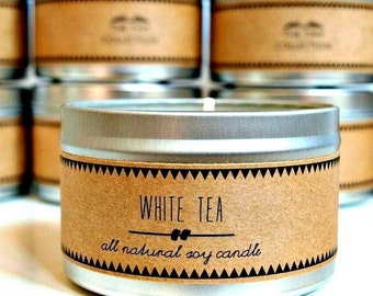 30% off // WHITE TEA Soy Candle. Natural Candle. Scented Candle. Eco Friendly. Vegan Friendly. Natural Gift. Gift for Her.
