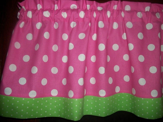 Items similar to pink polka dot lime green trim bedroom curtain window topper valance on etsy for Lime green curtains for bedroom