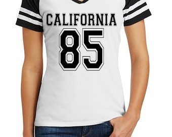 California Varsity T-Shirt, Women's T-Shirt, Customize w/ Any State and Number, Varsity T, Custom, District Made Women's T-Shirt,