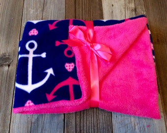 Baby girl nautical fleece blanket, nautical baby girl recieving blanket, nautical baby girl lovey, nautical baby girl security blanket