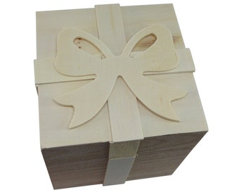 FREE SHIPPING! Unfinished Wood Gift Box w/ Removable Lid and Bow 10cm x 10cm x 10cm