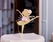 Ballerina Cake Topper, Ballerina Birthday Centerpiece, Gold Glittered Ballerina Cake Decoration