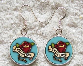 SALE 3 days 20% Resin EARRINGS - 925 Sterling Silver Hooks -((( True love )))- INCREDIBLE Price