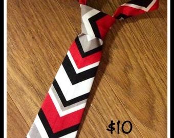 Little Boy Handmade Necktie, Tie, Chevron Red, White, Black