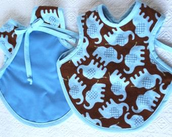 Blue Elephant bapron bib, reversible baby bib, toddler bib, Bapron, Reversible bib, baby bib, toddler bib