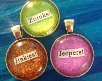 """Mystery Inc. Scooby Doo quote necklaces """"Zoinks!"""" """"Jinkies!"""" or """"Jeepers!"""""""