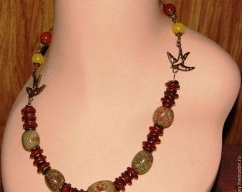 Necklace, bracelet, earrings with cornelian