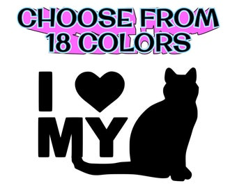 Cat Decal I Love My Cat Vinyl Decal,Cat Stickers,Kitty decals Pet decals