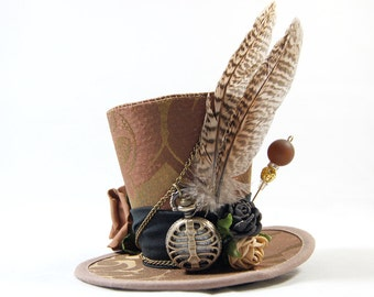 Steampunk mini Hat Brocade - Pocket Watch + pheasant feathers - Fascinators - headpiece