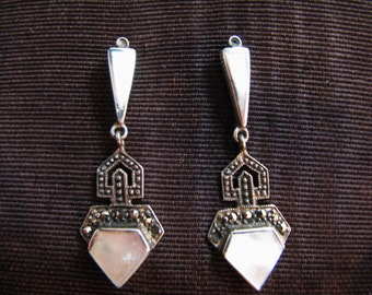 Beautiful Sterling Silver Mother of Pearl Dangle Pierced Earrings with Marcasite