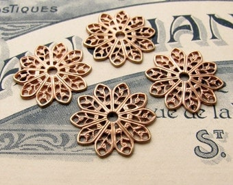 19mm sunburst round flat filigree (4 small medallions) center hole, filigree flower, rose gold antiqued brass, lace filigree, made in USA