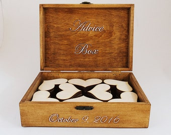 Card Box, Guest Book, Wedding Guest Box, Personalized Guest Book Alternative, Large Rustic Box, Custom Wood Wedding Box With 150 Hearts