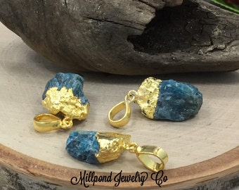 Blue Apatite Pendant, Apatite Pendant, Blue Apatite Point Pendant, One of A Kind, Gold Plated