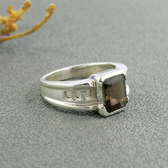 smoky quartz ring set in sterling silver jewelry by