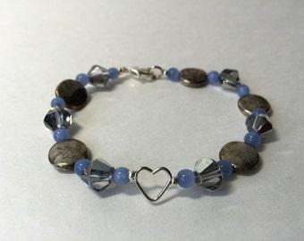 Blue Heart Beaded Bracelet