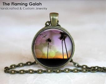 PURPLE SUNSET Pendant • Palm Trees • Beach Sunset • Vintage Summer • Retro SunSet • Retro Beach • Gift Under 20 • Made in Australia (P0338)