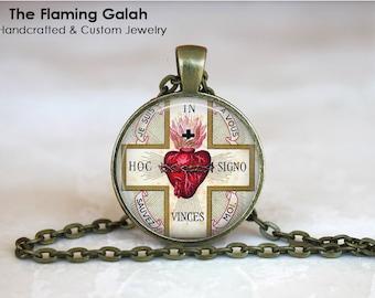 SACRED HEART Pendant • Sacre Coeur • Flaming Heart • Jesus Christ • Gift Under 20 • Made in Australia (P1113)