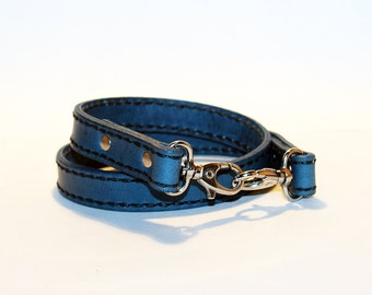 Leather lanyard, hand cut, hand stitched, Keychain, Key Holder, Leather Keychain, Leather Id Badge Lanyard, Blue leather lanyard.
