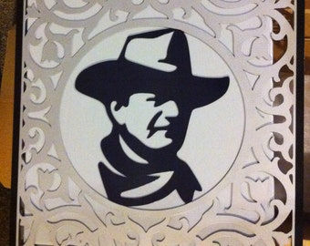 John Wayne Silhouette Metal Wall Art Hand Made John Wayne Silhouette Scroll