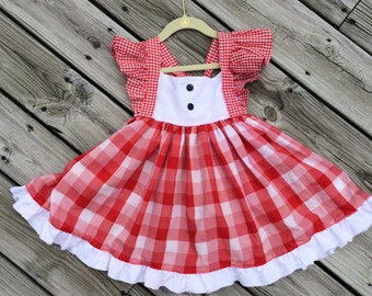 Summer Picnic Gingham Print Dress with Eyelet Bodice