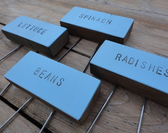 Rustic Baby Blue Garden Markers With Pins, Custom Pick, Vegetable Herb Sign, Cedar Wood Markers, Garden Stakes