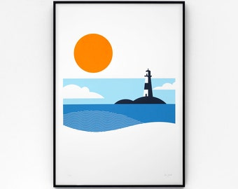Lighthouse A2 limited edition screen print, hand-printed in 4 colours