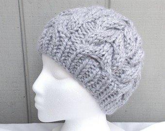 Womens grey beanie - Chunky knit beanie  - Gray cabled hat - Teens wool hat