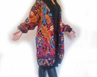 Jacquard knit cardigan vest coat jacket