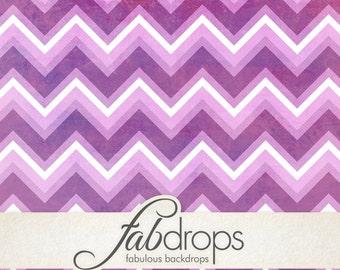 4x5 Orchid Chevron Grunge Backdrop / Flowery Purple Chevrons Photography Backdrop - Fab Vinyl 4x5 ft (FV2005)